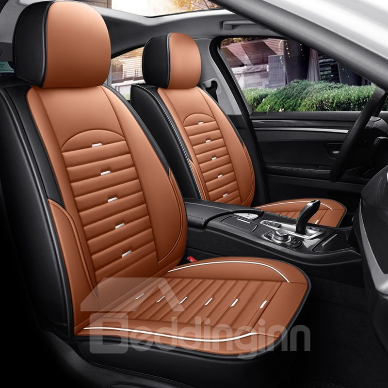 5-seater Full Coverage Wear-resistant And Scratch-proof Skin-friendly Leather Comfort Easy To Clean Up Airbag Compatible Universal Fit Seat Covers Suitable For Most 5 Seats Sedan Cars