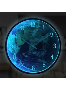 Earth Shape Sound-controlled Induction LED Luminous Wall Clock Silent Movement Accurate Travel Time