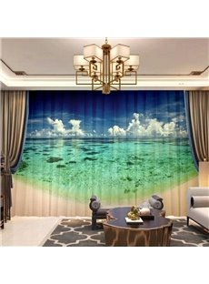 3D Decorative Sheer Curtains for Living Room Bedroom 50%Shading Rate Digital Technology Printing No Fading