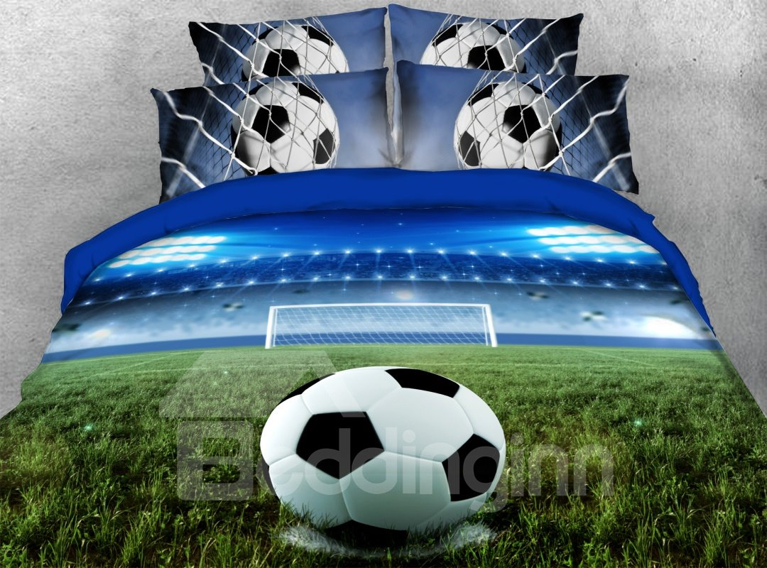 3d Soccer Football Soft Lightweight Comforter 5pcs Pic