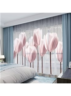 Romantic 3D Tulip Sheer Curtains with Classy Chiffon No Pilling No Fading No off-lining Upholstery Eye-Catching But No Dazzling