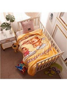 Yellow Bear Flannel Cartoon Bed Blanket Polyester Warm Lightweight Blanket for Baby/Kids