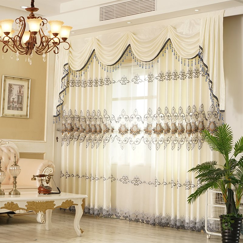 European Chenille Embroidery Blackout Grommet Curtains Pic