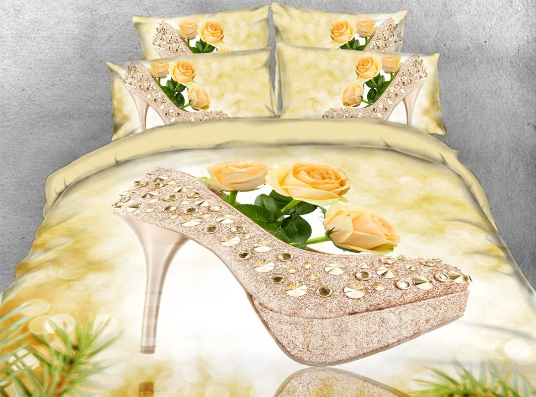 3d High Heel Yellow Roses 5 Piece Comforter Set Polyester Pic