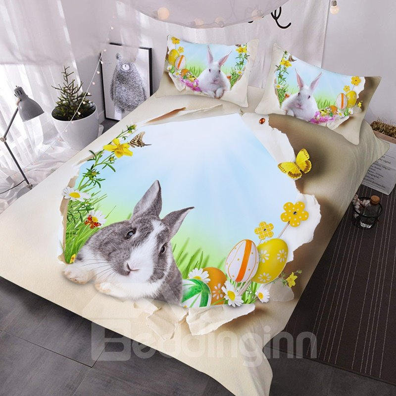 3D Rabbit and Easter Egg 3-Piece Lightweight Comforter Durable Washable Comforter Set with 2 Pillow Shams 3D Rabbit and Easter Egg 3-Piece Lightweight Comforter Durable Washable Comforter Set with 2 Pillow Shams