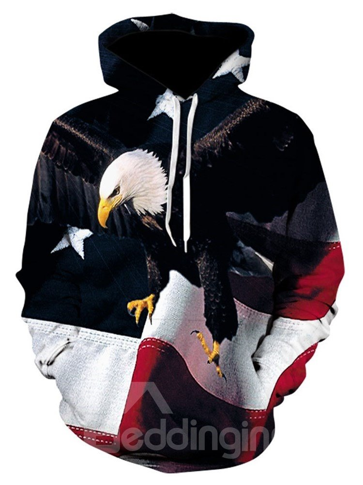 3D Eagle Print Pullover Mens Hoodies with 95% Polyester 4% Spandex Comfortable Soft Breathable and Durable Fabric