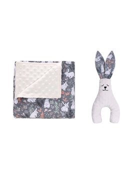 Cartoon Rabbit Flannel Cotton Kids Blanket Baby Swaddling with a Toy For Free