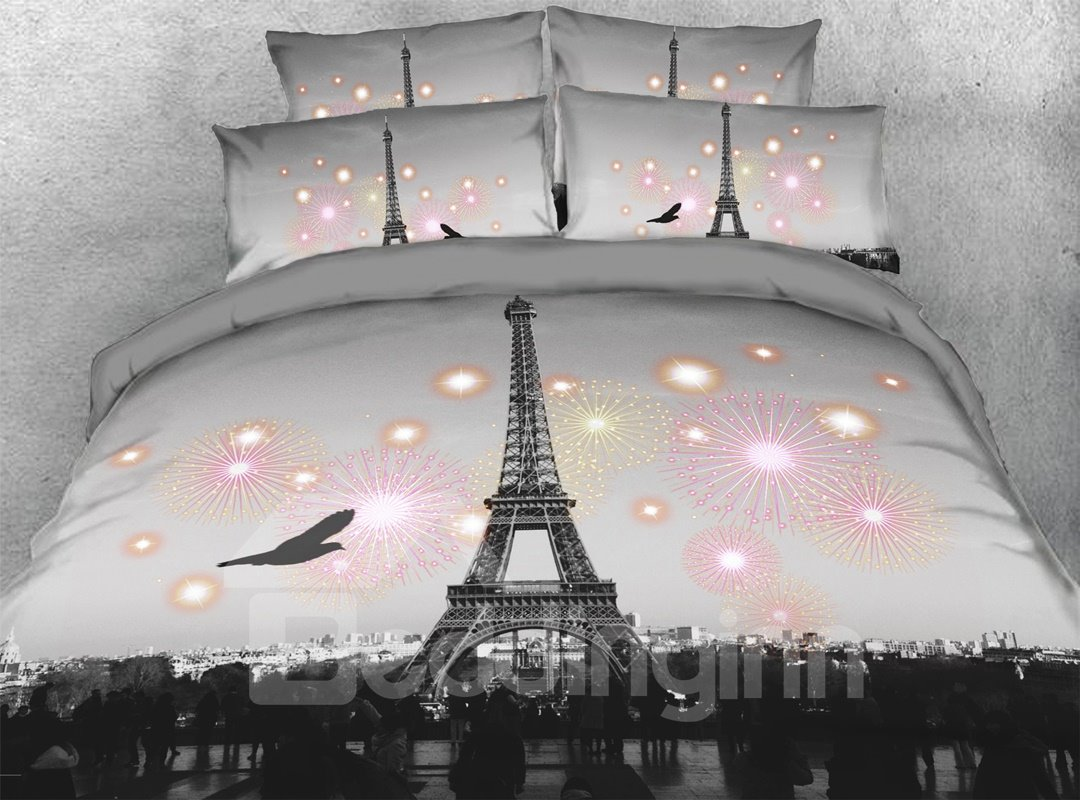 3d Eiffel Tower 5 Piece Scenery Comforter Set Zipper Pic