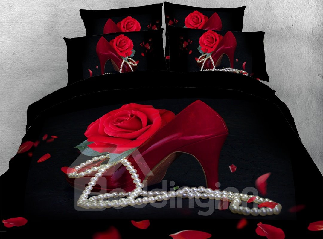 Sexy Red Rose And High Heel 3d Durable 4pcs Bedding Sets No-fading Soft Reactive Printing Zipper Duvet Cover With Ties