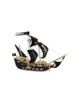 Black Sail Pirate Ship Puzzle DIY Children Assemble Puzzle Toys 6 Stars Difficulty Coefficient