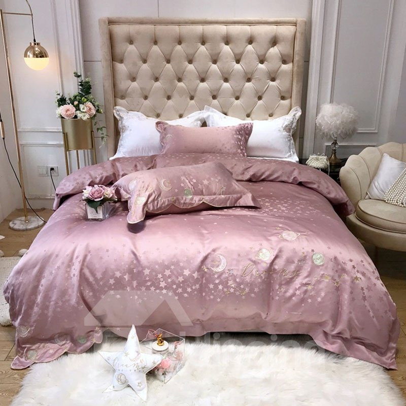 Dusty Pink Embroidery Cotton Silky Bedding Sets 4 Piece Pic
