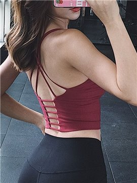 Strappy Sports Bra for Women Sexy Crisscross Back Light Support Yoga Bra