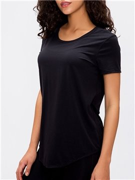 Soft Short Sleeve Yoga Tops Activewear Running Workouts T-Shirt Cross Back Sports Shirts Women Yoga Shirt