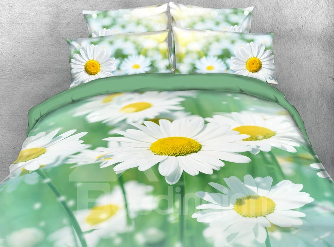 White Daisy 5 Piece Floral Comforter Set Zipper Ties Pic