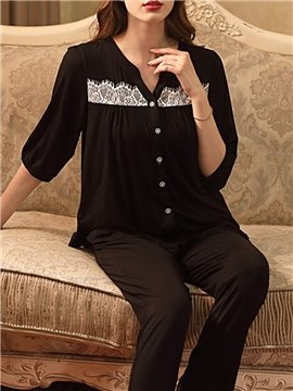 Modal Cotton Simple Lace Sleep Top Women's Pajama Suit Sleepwear Set