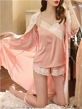 Sexy Smooth Chiffon Lace Color Block Robe Women's Pajama Suit Nightgowns