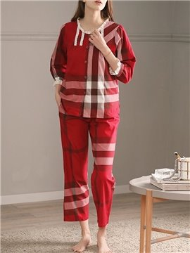 Casual Soft Plaid Round Neck Cotton Women's Pajama Suit Nightgowns