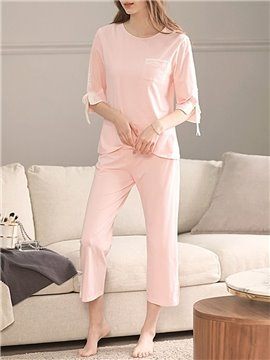 Simple Cotton Patchwork Pullover Women's Pajama Suit Soft Nightgowns