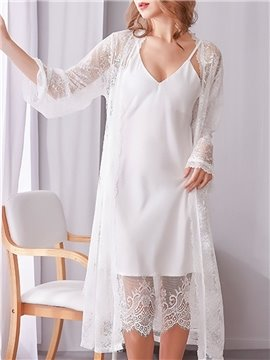 Sexy Chiffon Lace Plain Regular Women's Pajama Suit Home Dress Nightgowns