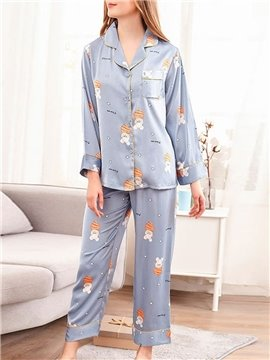 Smooth  Print Cartoon Casual Sleep Top Women's Pajama Suit for Spring and Fall
