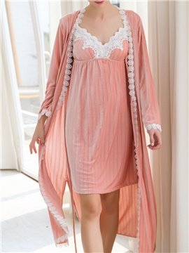 Pleuche Sexy V-Neck Women's Pajama Suit Soft and Comfortable Home Dress Nightgowns