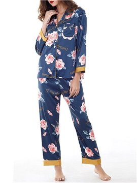 Chiffon Floral Print Single-Breasted Women's Pajama Suit Sleepwear Set