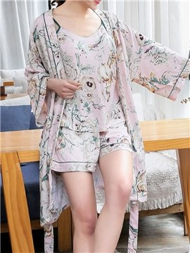 Elegant Chiffon Floral Print Women's Pajama Suit Soft Sleepwear Set for Spring Summer