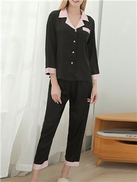 Soft Polyester Button Sleep Bottom Women's Pajama Suit Sleepwear Set