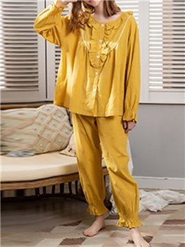 Simple Soft Cotton Plain Button Long Sleeve Women's Pajama Suit