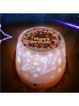 Happy Birthday Automatic Rotation of the Star Projection Noiseless Lamp USB&Battery LED Night Light