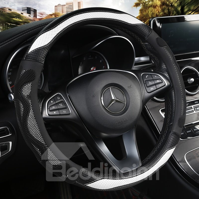 3D Cellular Ventilation Fashion Design Wear-resistant Leather Fabric Non-slip Inner Ring Safe And Non-toxic Materials Non-slip And Breathable Universal Car Steering Wheel Covers