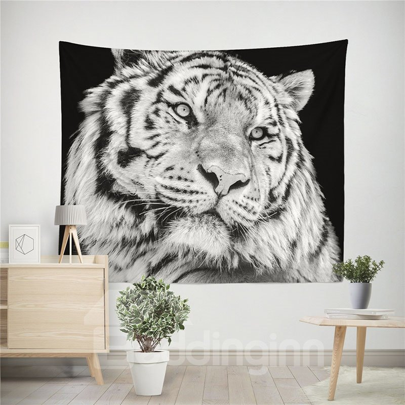 Decoration | Tapestry | Tiger | White | Black | Wild | Home | Wall | 3D