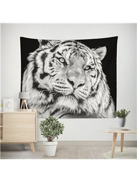 3D Wild Tiger Black and White Wall Tapestry Home Decoration Wall Decorations