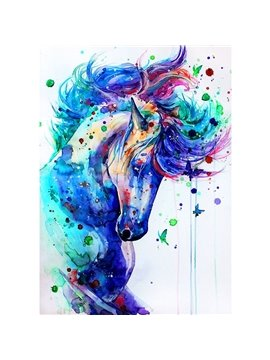 Unicorn DIY Coloring Game Animal Digital Printed Oil Painting with Acrylic Paint Color Pens and Pine Framework