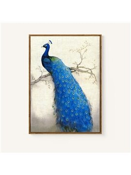 Blue Peacock DIY Coloring Game Animal Digital Printed Oil Painting with Acrylic Paint Color Pens and Pine Framework