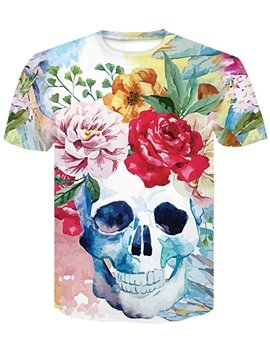 Casual 3D Print Personality Style Comfortable Loose Round Men's T-shirt