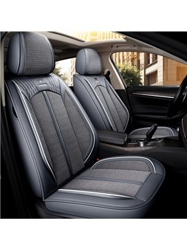PU Polka Dots Cotton Business Seat Cover Full Coverage Soft Wear-Resistant Durable Skin-Friendly Man-Made PU Leather And Ice Silk Materia Airbag Compatible 5-Seater Universal Fit Truck Seat Covers