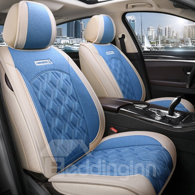 Geometric Microfiber Pastoral Cotton Seat Cover Full Pic