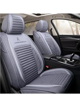 Microfiber Geometric Cotton Pastoral Seat Cover Non-Fading Dustproof And Wear-Resistant Pure Color With Bright Lines Design 5 Seats Universal Truck Seat Covers