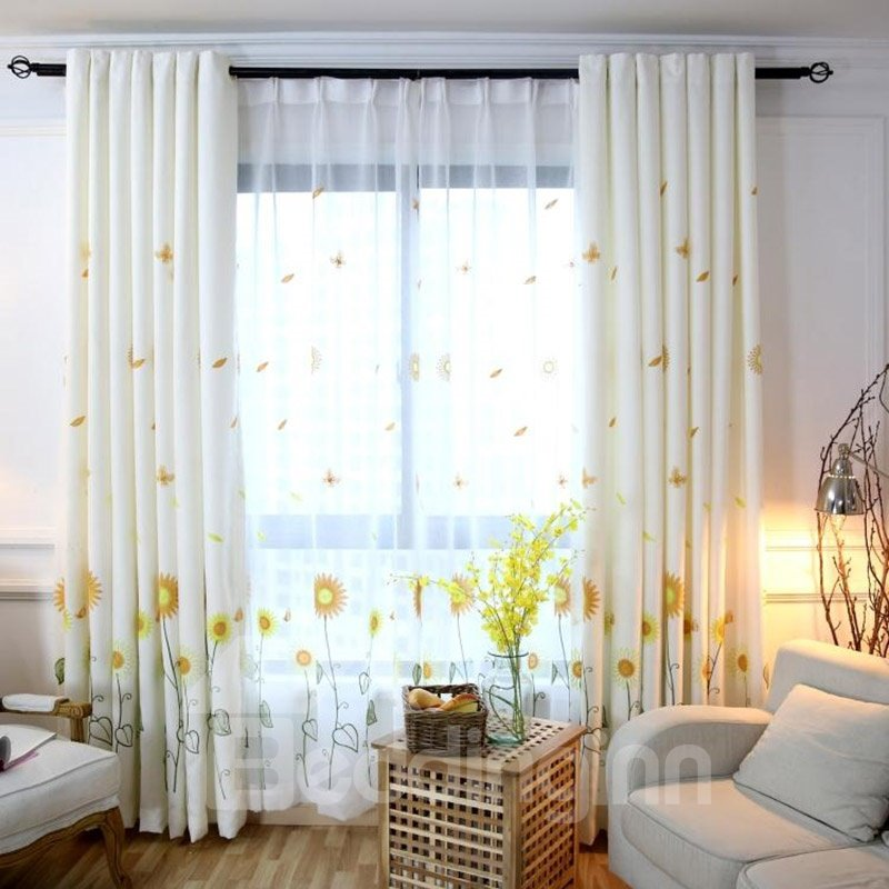 Elegant Embroidery Sunflower Blackout 2 Panels Curtain Physically Blocks Light Nicely Prevents Uv Ray Machine Wash Accepted Never Fading Cracking Peeling Or Flaking