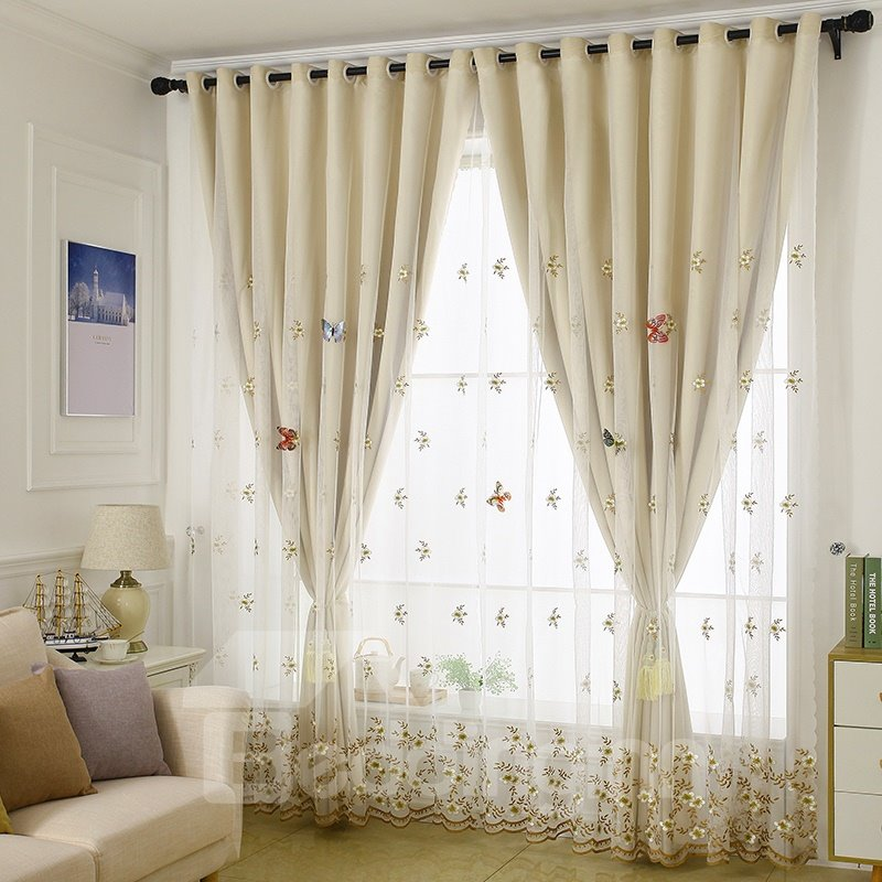Decorative | Blackout | Curtain | Cloth | Sheer | Beige
