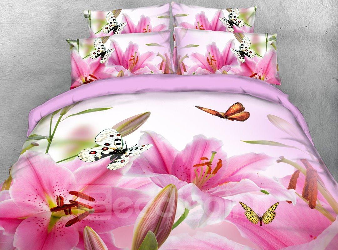 Pink Lily Butterflies 3d 5 Piece Floral Comforter Set Pic