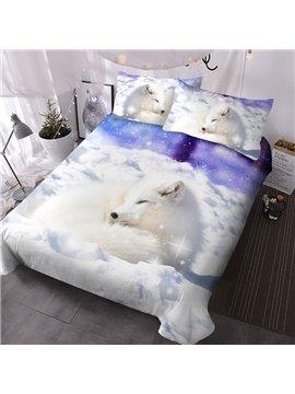 Arctic Fox 3D Animal Lightweight Comforter 3 Pieces Microfiber No-Fading Comforter Set with 2 Pillowcases