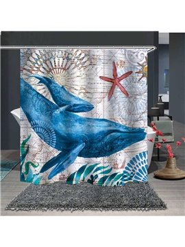 Cartoon Starfish and Whales Waterproof and Mildewproof Polyester Shower Curtains
