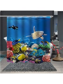 Waterproof and Mildewproof 3D Fish and Turtle in The Blue Ocean Polyester Animal Shower Curtains