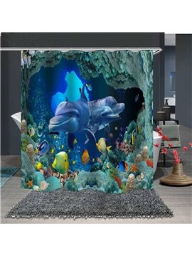 Waterproof and Mildewproof 3D Dolphins and Fish Under The Sea Polyester Animal Shower Curtains