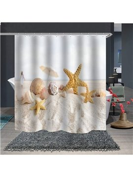 Waterproof and Mildewproof Starfish and Shells 3D Polyester Beach Shower Curtains