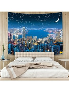 3D Night View of the City Wall Tapestry Home Decoration Wall Decorations Bedspread Bed Cover Table Cloth Curtain