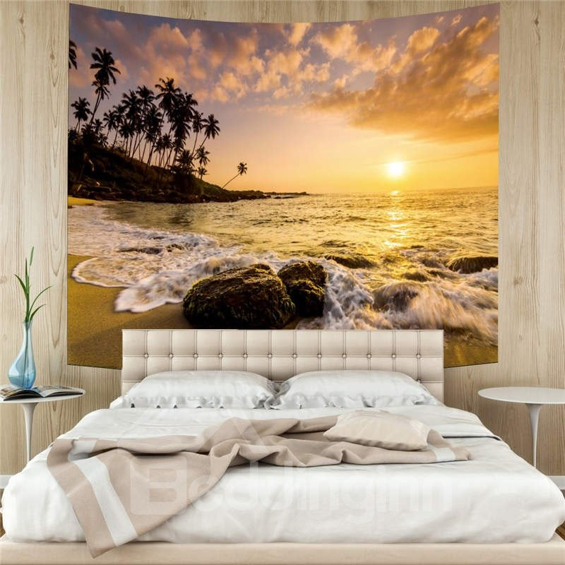 3D Beach and Sunset Wall Tapestries Home Decoration Wall Decorations Bedspread Bed Cover Table Cloth Curtain