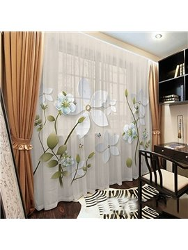 Vintage Translucidus 3D Floral Sheer Curtains for Living Room Bedroom 50% Shading Rate Digital Technology Printing No Fading